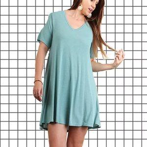 Umgee Teal T-Shirt Dress